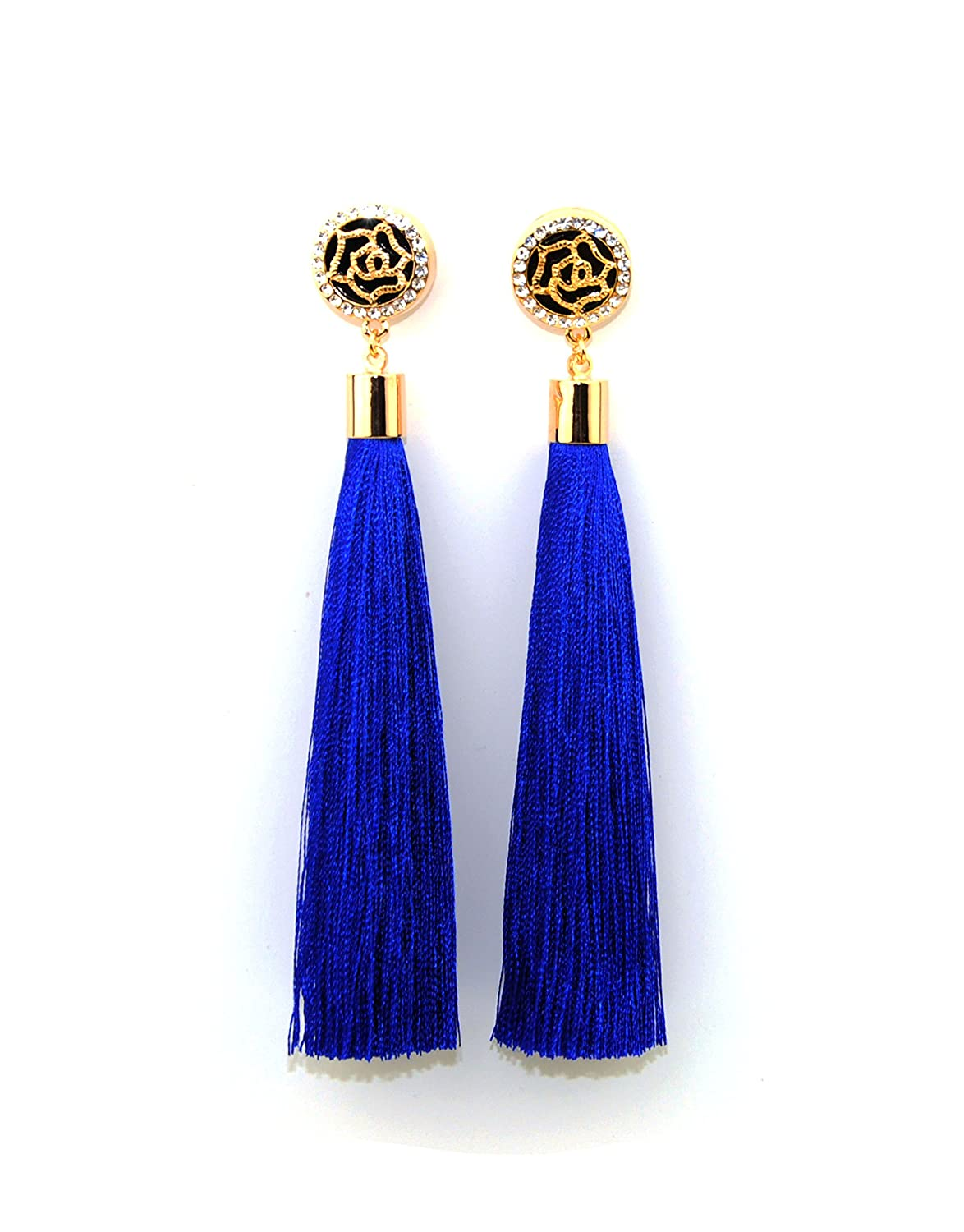 Royal Blue Tassel Earrings with Gold Rose and Diamante Feature UK kEvRbJGeXr