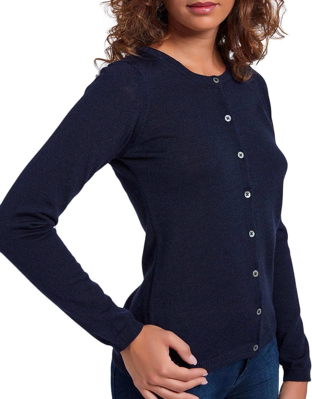 100/% Extrafine Merino Color Blue Navy Brunella Gori Cardigan con Bottoni Girocollo Donna con Dettaglio Finta Interna Gross Grain