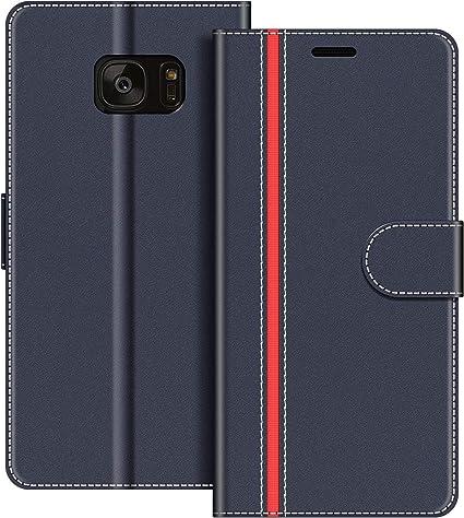 COODIO Funda Samsung Galaxy S7 Edge con Tapa, Funda Movil Samsung S7 Edge, Funda Libro Galaxy S7 Edge Carcasa Magnético Funda para Samsung Galaxy S7 Edge, Azul Oscuro/Rojo: Amazon.es: Electrónica