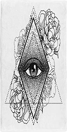 Semtomn 14 X 30 Inches Bath Towel Blackwork Tattoo Flash All Seeing Eye Pyramid Symbol Peony Soft Absorbent Travel Guest Decor Hand Towels Washcloth For Bathroom One Side Printing Amazon Co Uk Kitchen Home