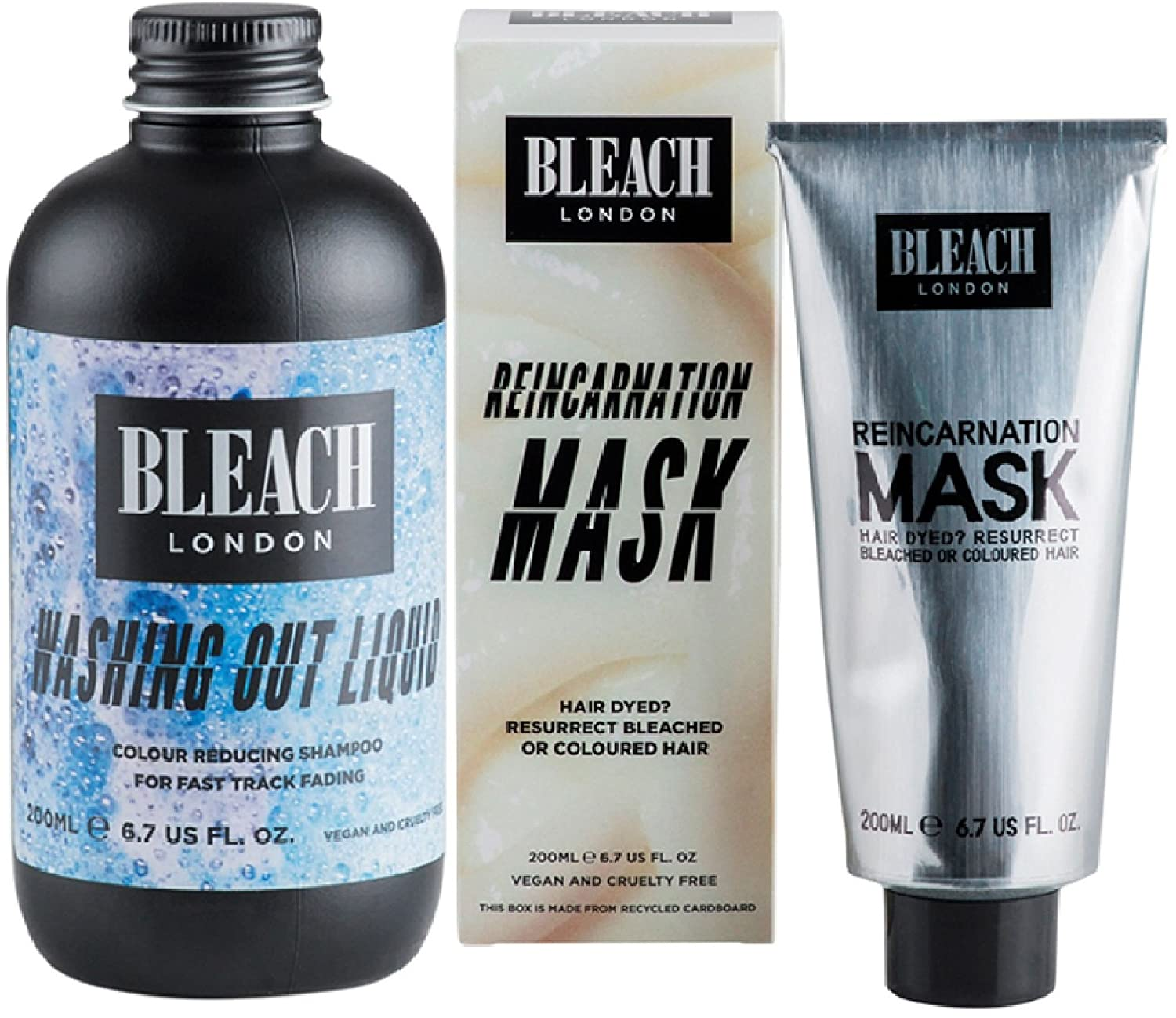 (2 PACK) Bleach London Washing Out Liquid 200ml & Bleach London Reincarnation Mask 200ml