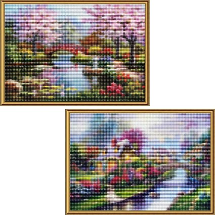 5D DIY Full Drill Round Diamond Painting Scenery Cross Stitch Mosaic Craft Kits