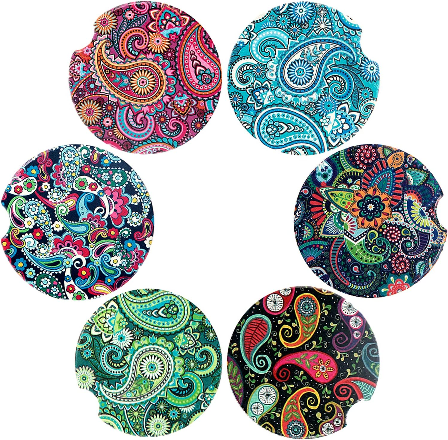 Amazon Com Staramz Car Coasters Pack Of 6 Mandala Styles Car Coasters For Cup Holders Absorbent Auto Cup Holder Coasters For Women Men Drinks Ceramic Car Accessories Small 2 56 Paisley Ethnic Coasters