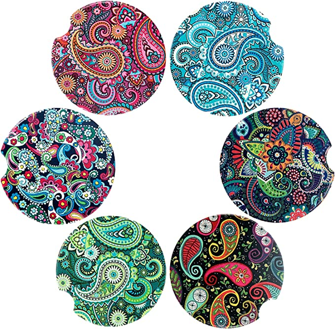 Mandala Design for Women and Men Absorbent Ceramic Coasters for Car 2.56 inch Car Cup Holder Coasters Avamie Car Coasters 4 Pack