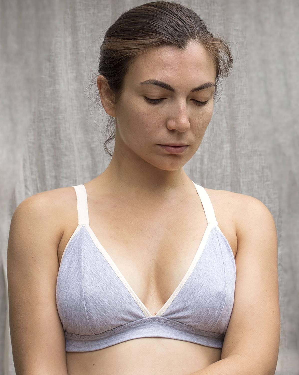Organic Cotton Gray Bralette. Soft Wireless Bra. Comfortable Supportive Bralette. Convertible Straps. Natural Handmade Lingerie