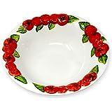 Lashuma handgemachte Salatschale aus italienischer Keramik im Tomatendesign, runde Servierschüssel ca. 27 cm, ca. 6 cm tief