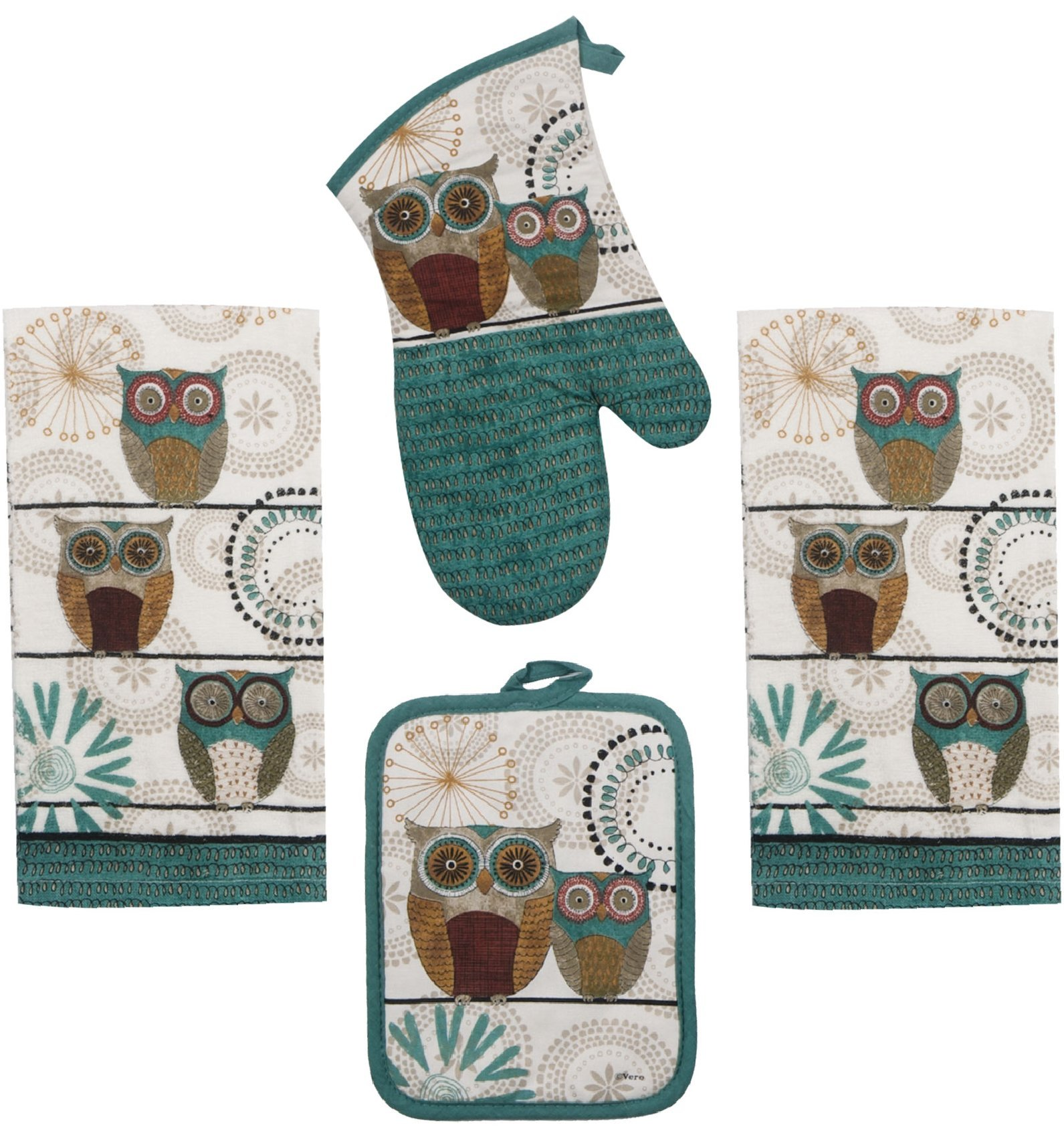 Kay Dee Spice Road Retro Owl Set - 2 Towels, Oven Mitt, Potholder