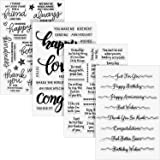 4 Sheets Words Clear Stamp Silicone Stamp Cards with Sentiments, Greeting Words Pattern for Card Making and DIY…