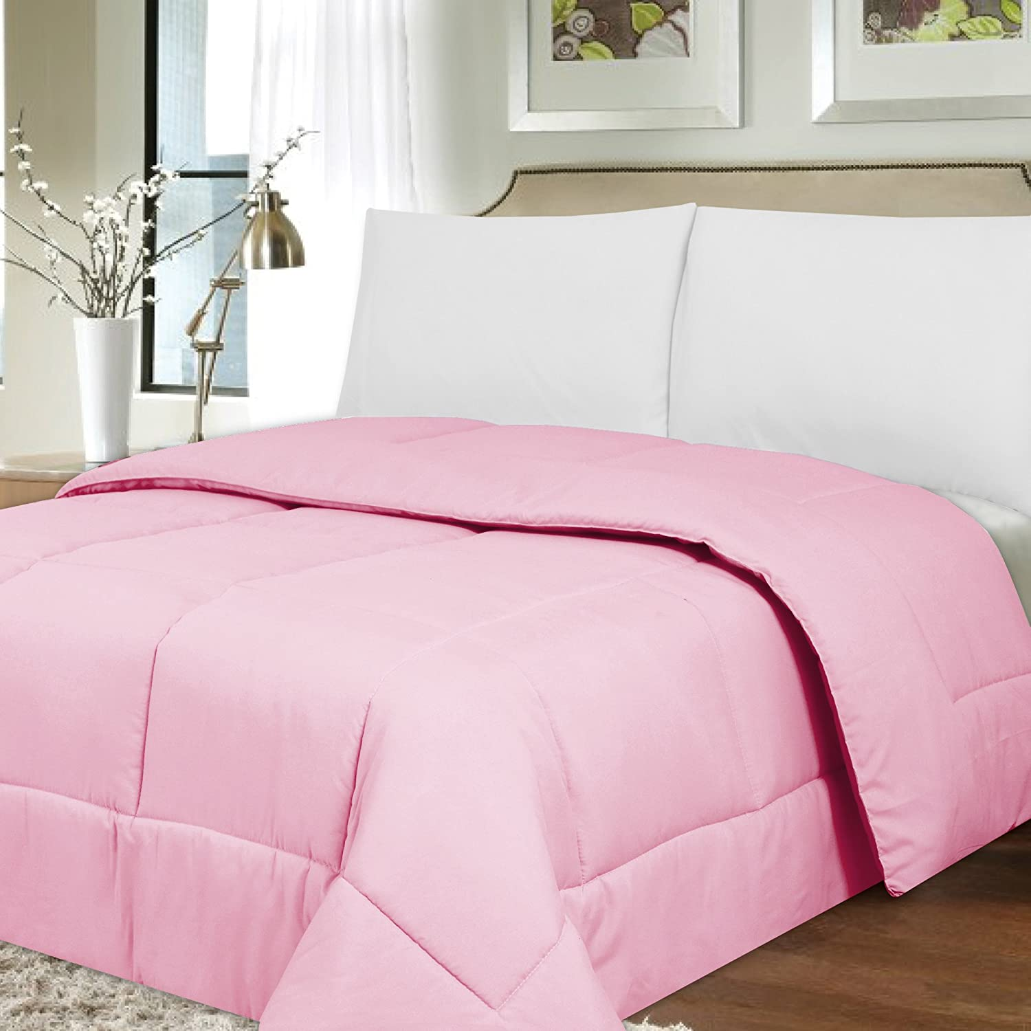 Sweet Home Collection Luxurious Down Alternative Brushed Microfiber Comforter, Pink