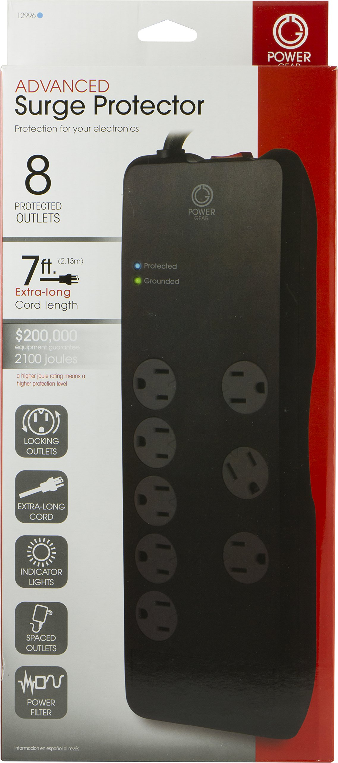 Power Gear 8 Outlet Power Strip Surge Protector, 7 Ft Extension Cord, 2100 Joules, Twist-to-Close Safety Outlet Covers, 3 Adapter-Spaced Outlets, On/Off Switch, Automatic Shutdown, Black, 12996 by Power Gear (Image #1)