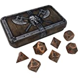 Skull Splitter Dice Antique Brass Color Metal Dice with Black Numbers | Solid Metal Polyhedral Role Playing Game (RPG) Dice Set (7 Die in Pack) with Awesome Dwarven Chest Dice Case