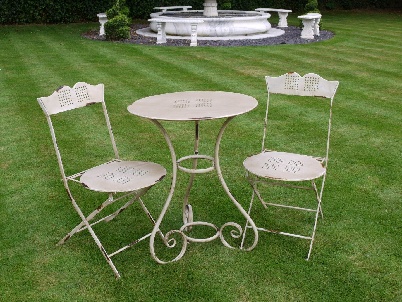ab102a7782609 Antique Cream Vintage Style 3 Piece Bistro Style Garden Patio Furniture Set   Amazon.co.uk  Garden   Outdoors