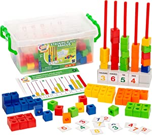 Kids First Math: Stacking Block Abacus Math Kit w/ Activity Cards | Develop Skills in Counting, Sorting, Subtraction, Addition & More | Visual Hands-on Math for At-Home or Classroom Learning, Ages 3+