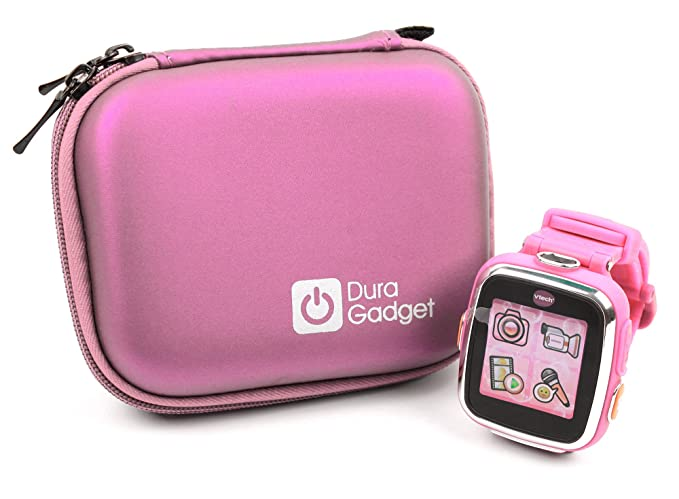 DURAGADGET Premium Quality Shock Absorbent Pink Shell Case with Carabiner Clip & Dual Zip Function - Suitable ForKidizoom Smartwatch DX2 | DX | ...