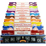véritable Satya Sai Baba – Nag Champa variété MIX Coffret cadeau B 12 x 15 g boîtes de Comprend, d'encens, Nag Champa Super Hit, Vibes positives, Namaste, CHAMPA, Opium, Reiki, Guérison spirituel, dragons Fire, Karma, méditation, Ayurveda traditionnel