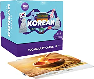 Briston Korean Hangul Vocabulary Learning Flash Cards with Pictures for Beginners, Adults and Kids (with Examples and Pronunciations) - 180 Words