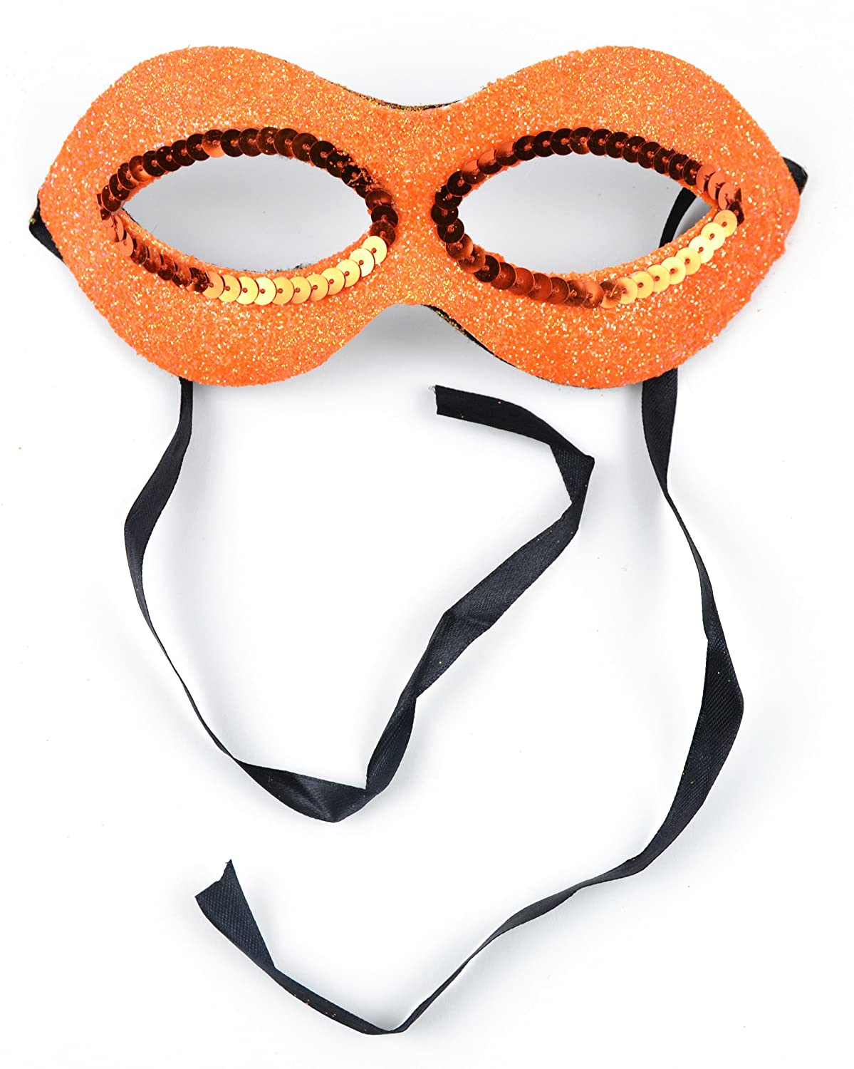 MaskIt Fancy Deco Half Mask Turquoise with Sequins and Glitter Black Cloth Tie Midwest Design Imports Inc 71147 7-Inch