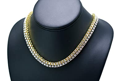 Hip Hop Iced out 14K Gold Plated 18 quot  1Row Tennis Choker Chain and 14K  White 66bfd31ea1aa