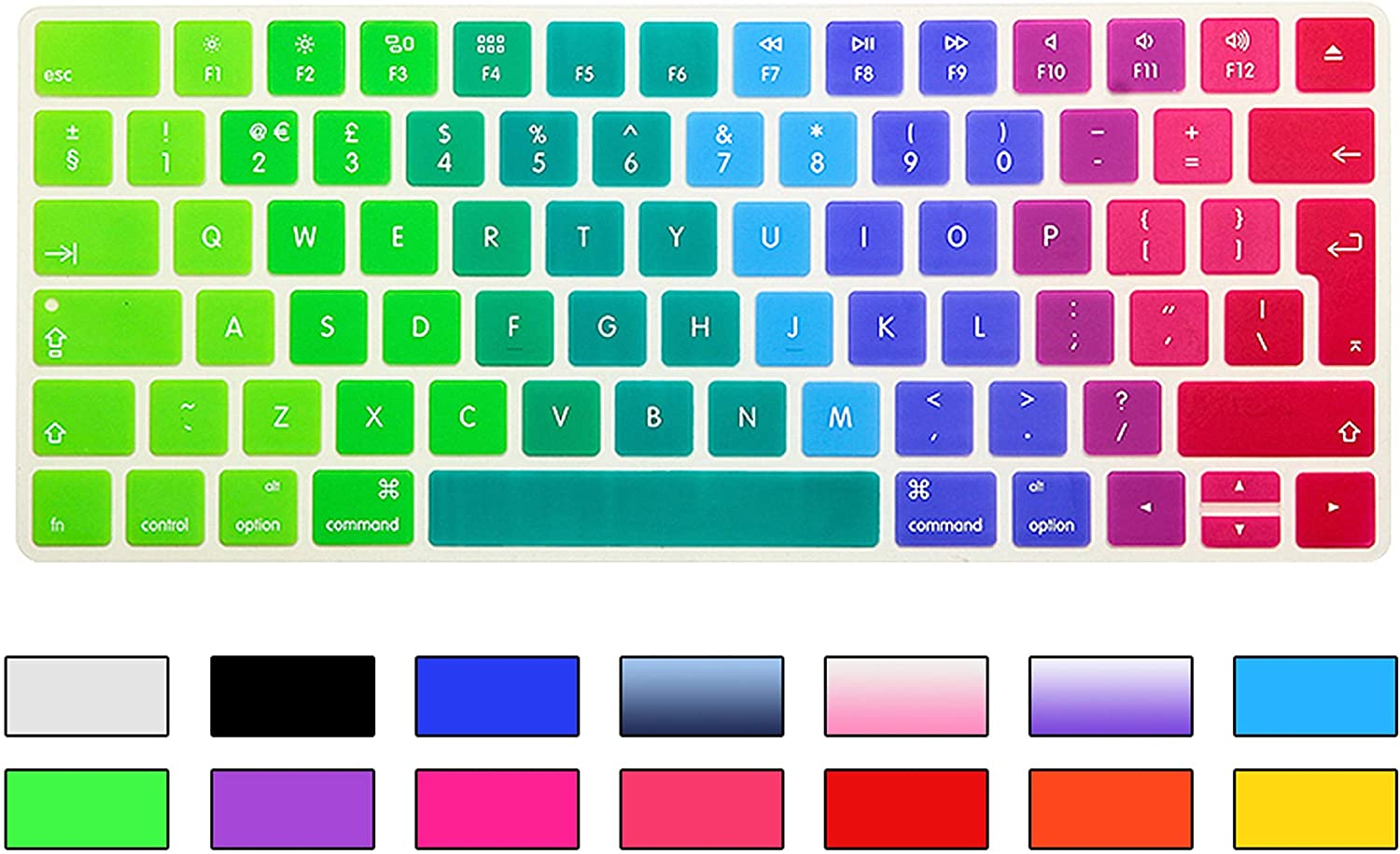 Film Pour Clavier Rainbow Gradient Magic Keyboard Cover Silicone Skin Protective Film for Magic Keyboard 2 2015 A1644 UK//EU Keyboard Version-Gradient Gray