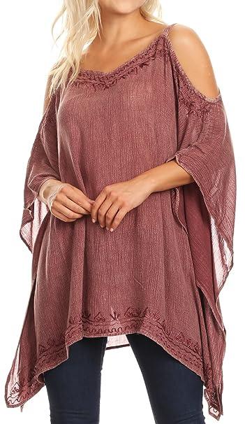 Sakkas 1803 - Ada Womens Stonewashed Cold Hombro Top Blusa Casual Bordada Suelta - Malva - OS: Amazon.es: Ropa y accesorios