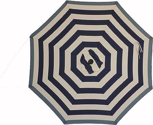 Pebble Lane Living 9 Premium Patio Market Umbrella with Blue Border Stripes