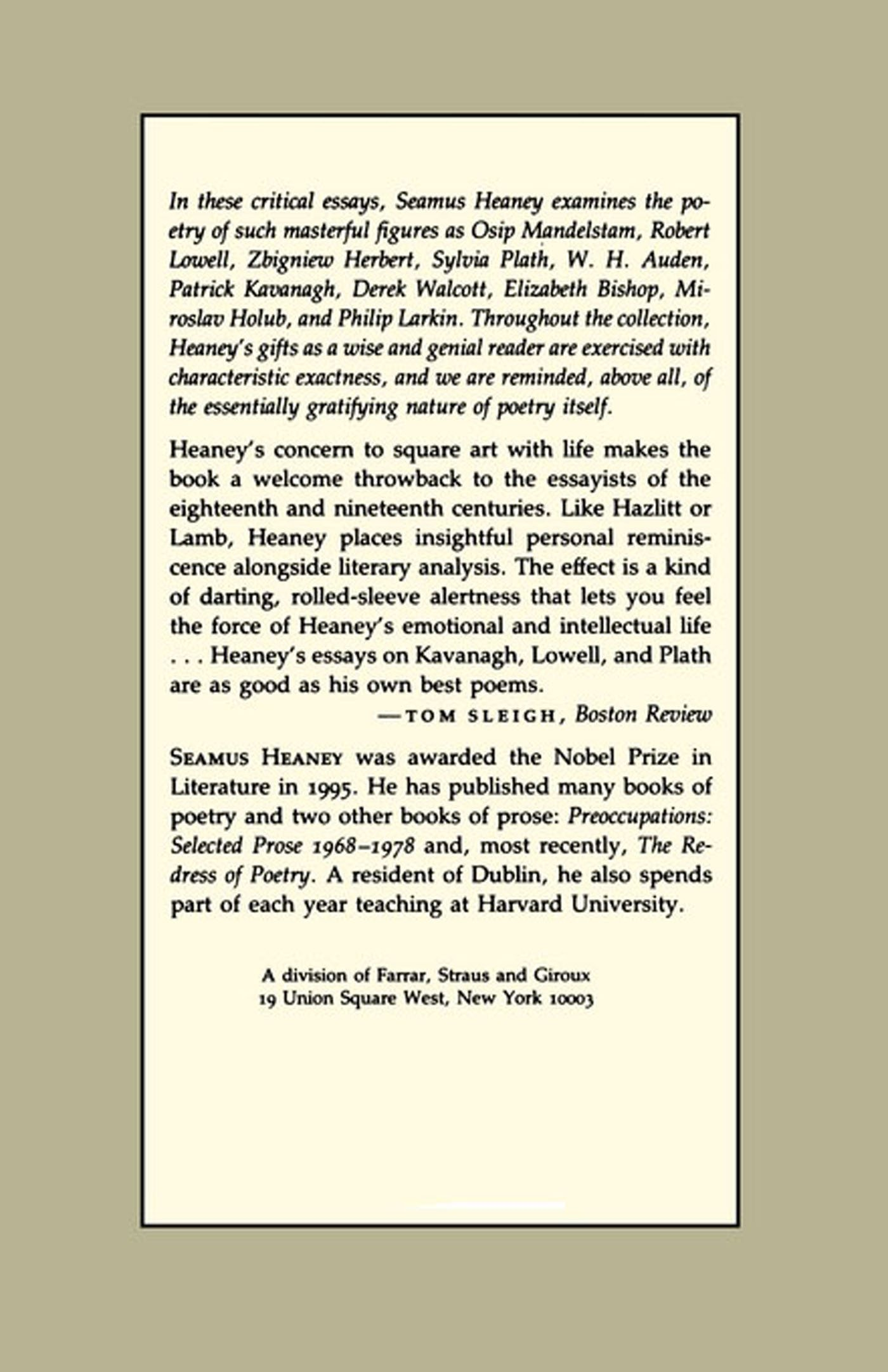 seamus heaney essays seamus heaney an advancement of learning  com the government of the tongue selected prose com the government of the tongue selected prose seamus heaney an advancement of learning essay