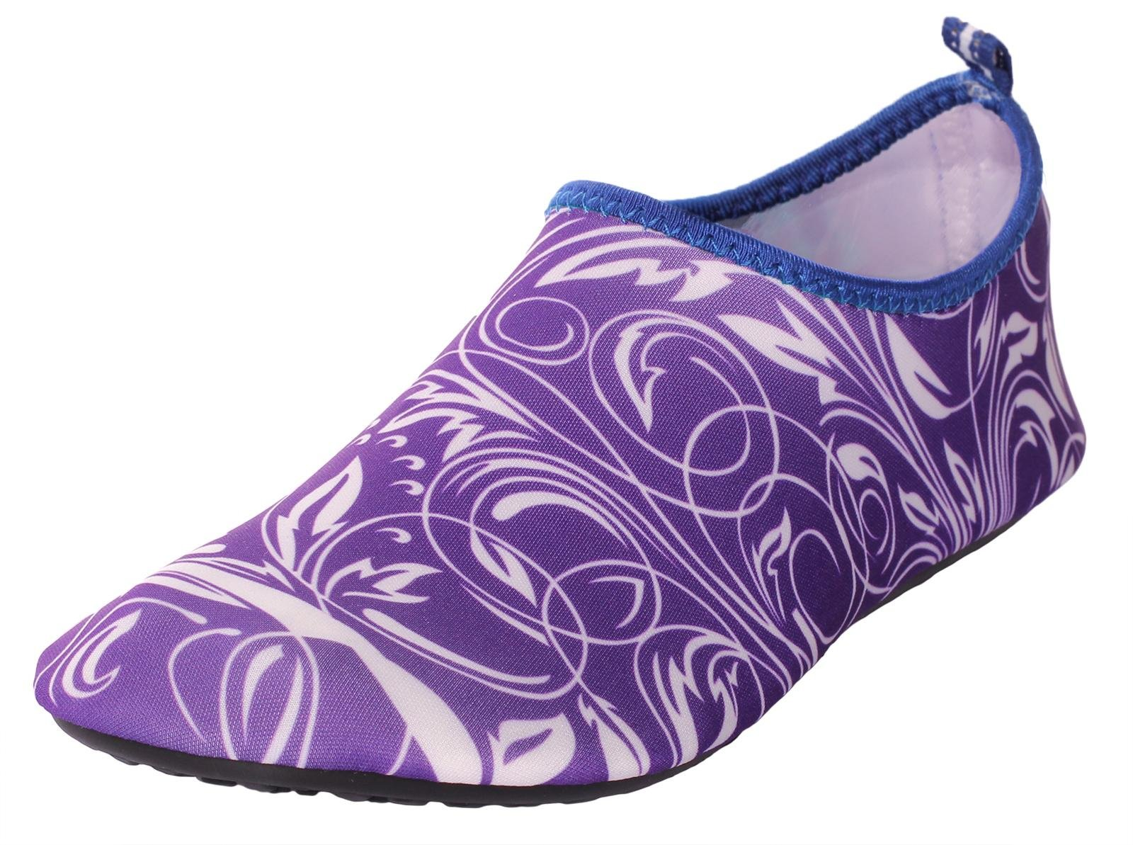 CAIHEE Women's and Men's Lightweight Quick Dry Slip On Water Shoes Aqua Barefoot Skin Shoes (6-7 B(M)US Women/6-6.5 D(M)US Men, Purple)