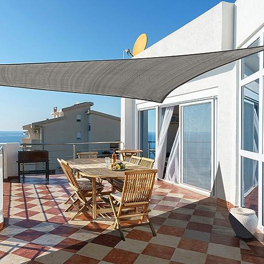 Cool Area Toldo Vela de Sombra Triangular 4 x 4 x 4 Metros, Impermeable Protección UV para Patio Exteriores Jardín, Color Gris: Amazon.es: Jardín