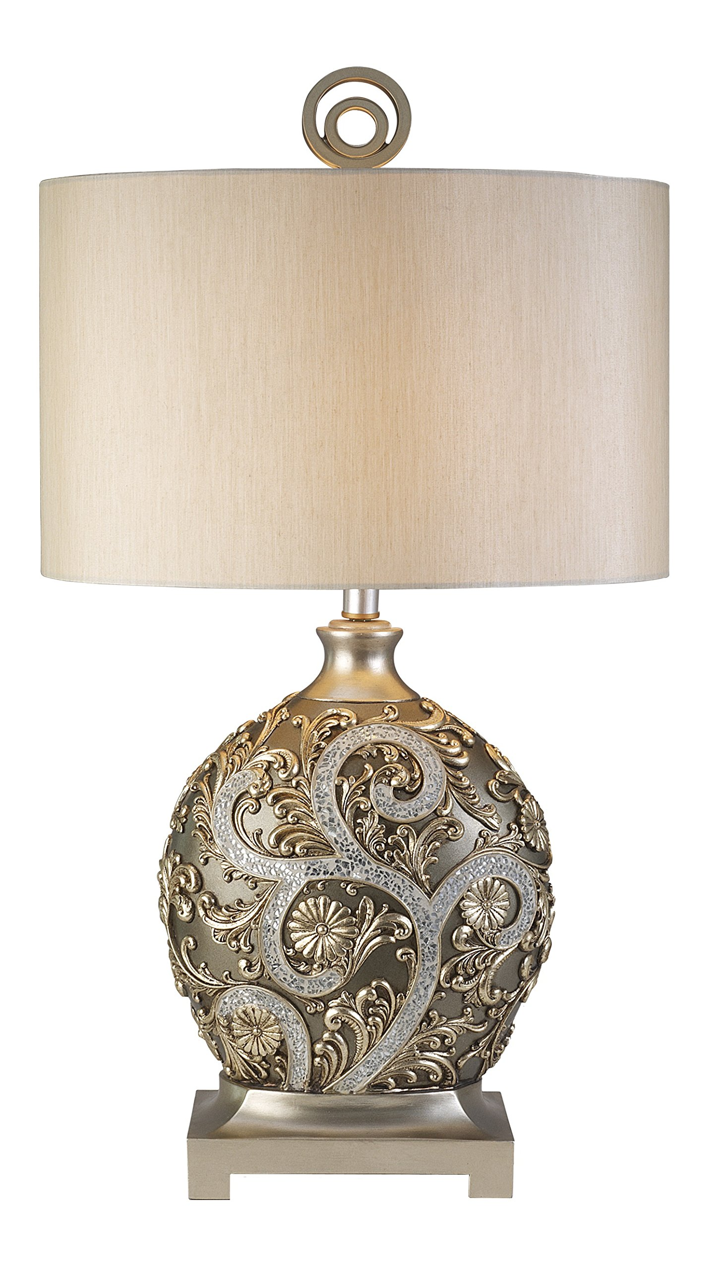 OK LIGHTING 12.25 in. Champagne Gold with Silver Vine Table Lamp