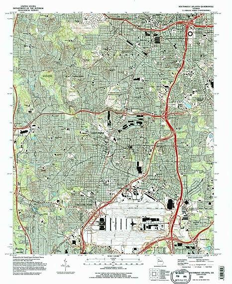 Map Of Southwest Georgia.Amazon Com Yellowmaps Southwest Atlanta Ga Topo Map 1 24000 Scale