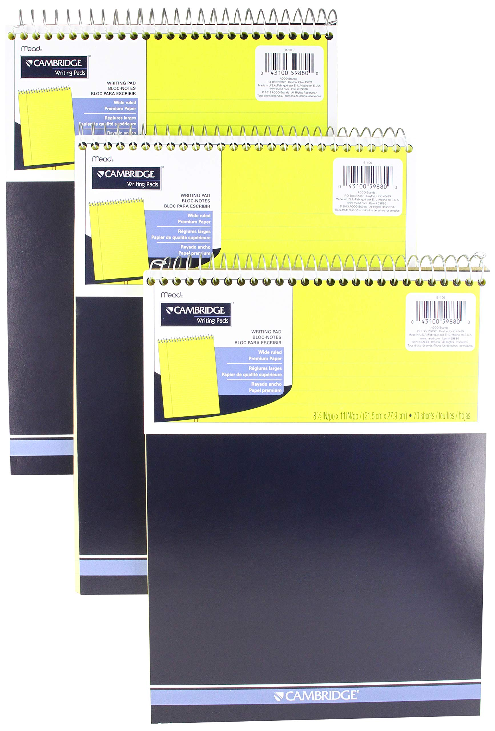 Mead Legal Pad, Top Spiral Bound, Wide Ruled Paper, 70 Sheets Count, 8-1/2'' x 11'', (3 Pack)