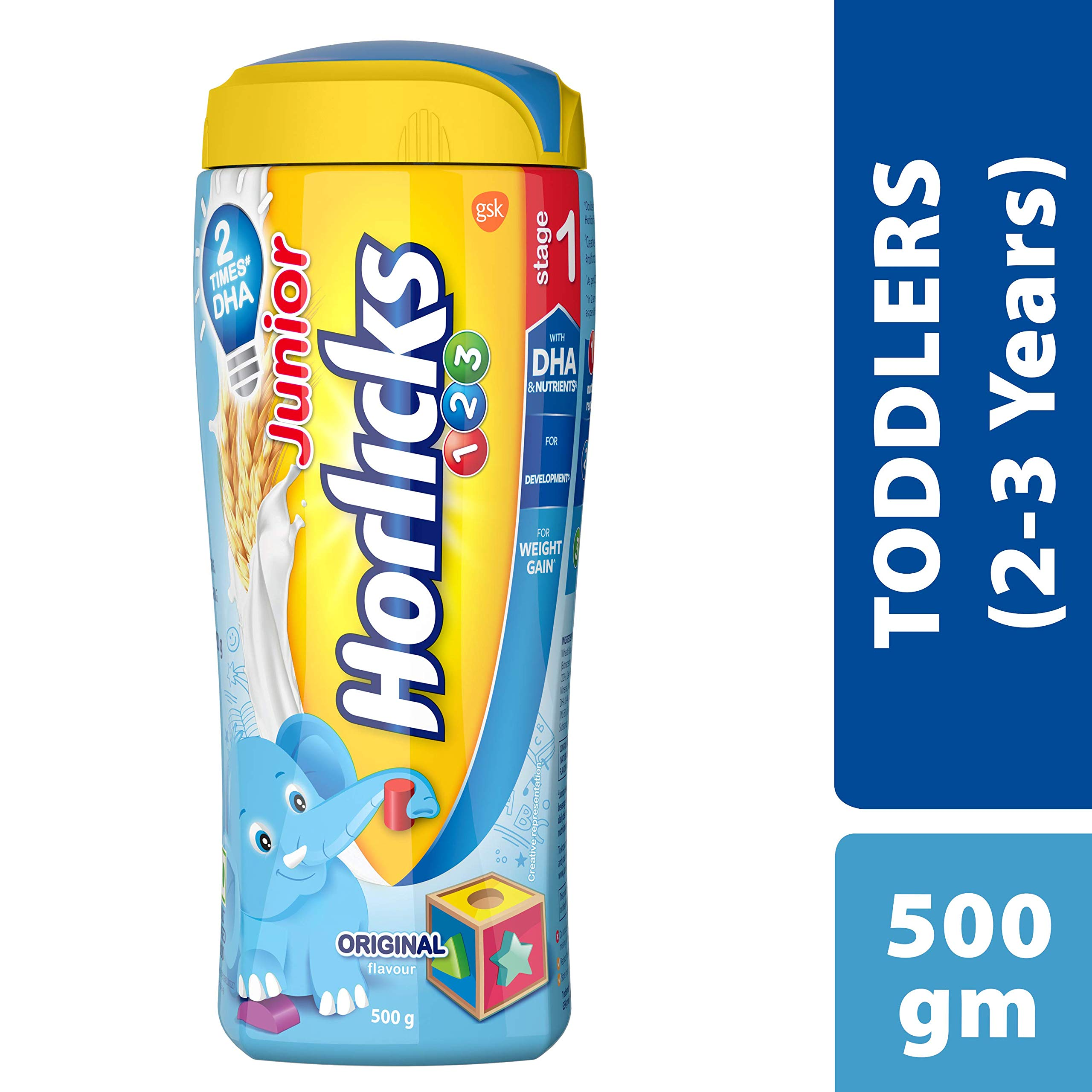 Horlicks Junior Stage 1 Health and Nutrition drink - 500g (2-3 years, Original flavor) product image