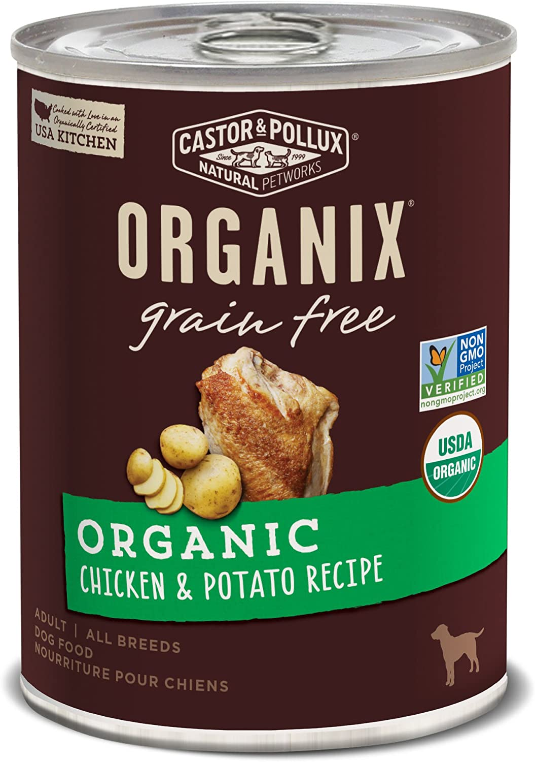 Castor & Pollux Organix Grain Free Organic Chicken & Potato Recipe Adult Canned Dog Food, (12) 12..7oz cans