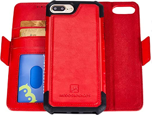 FREE SHIPPING Leather Case for iPhone 7  8 iPhone 7  8 Red Detachable Wallet Case
