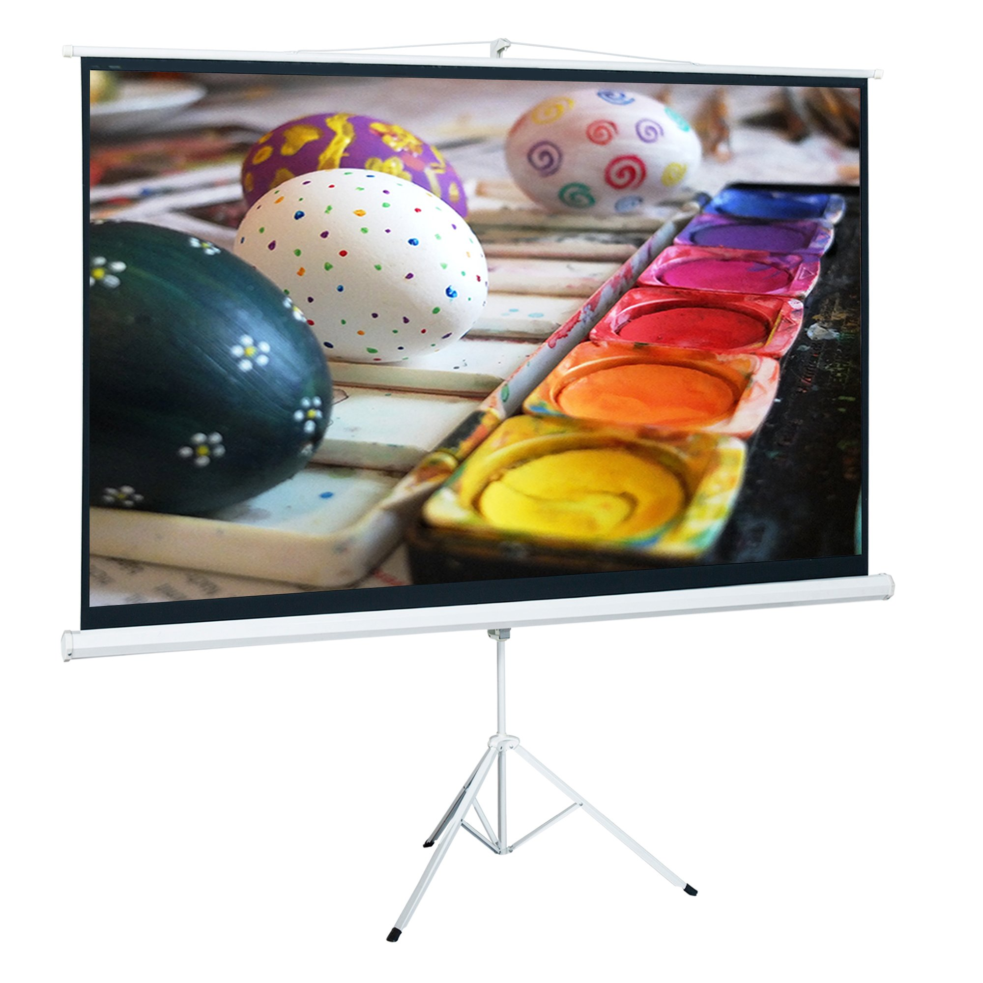 Cloud Mountain Tripod 100 Inch 16:9 HD Projector Adjustable Multi Aspect Ratio Projection Screen Portable Pull Up Stand by Cloud Mountain