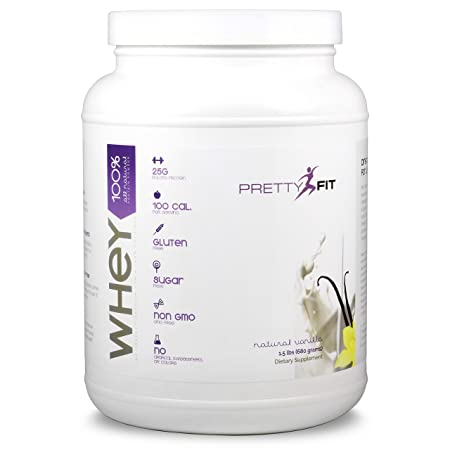 PrettyFit All-Natural Whey Protein Isolate – 24 Servings – Whey Protein Powder for Women – 100 Calories, 0 Sugars, 1g Carbs, Gluten-Free, w Digestive Enzymes Natural Vanilla