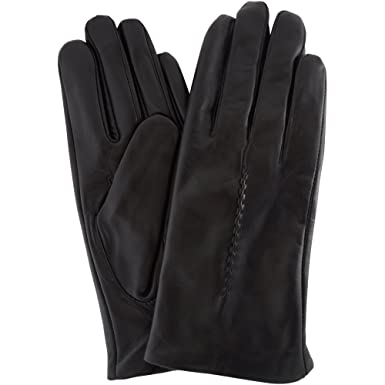 e76aa4fba Ladies Butter Soft Leather Glove with Woven Stitch Design & Warm Fleece  Lining, Black -