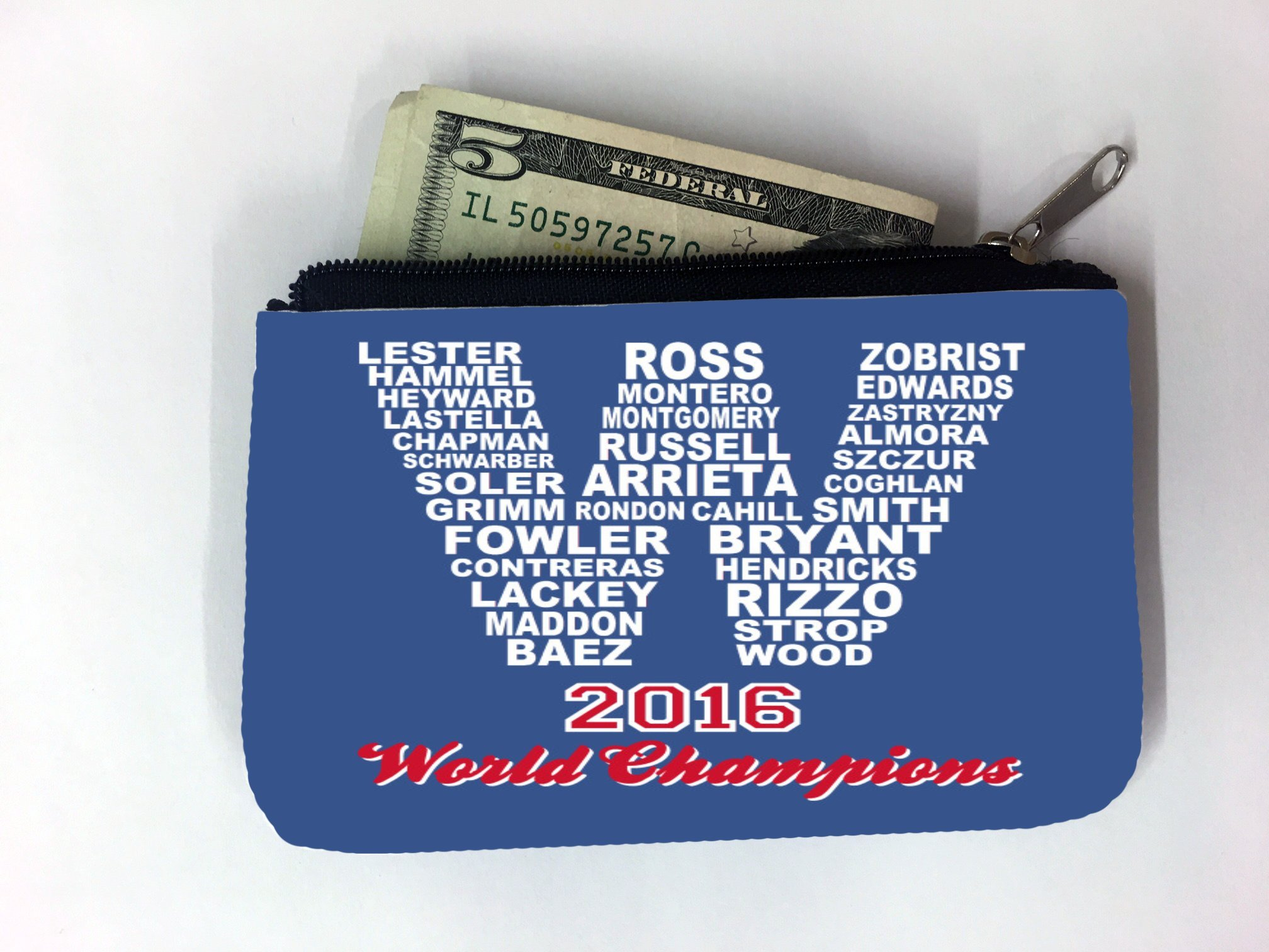Cubs 2016 World Baseball Champs Coin Purse Change Holder by Debbie's Designs