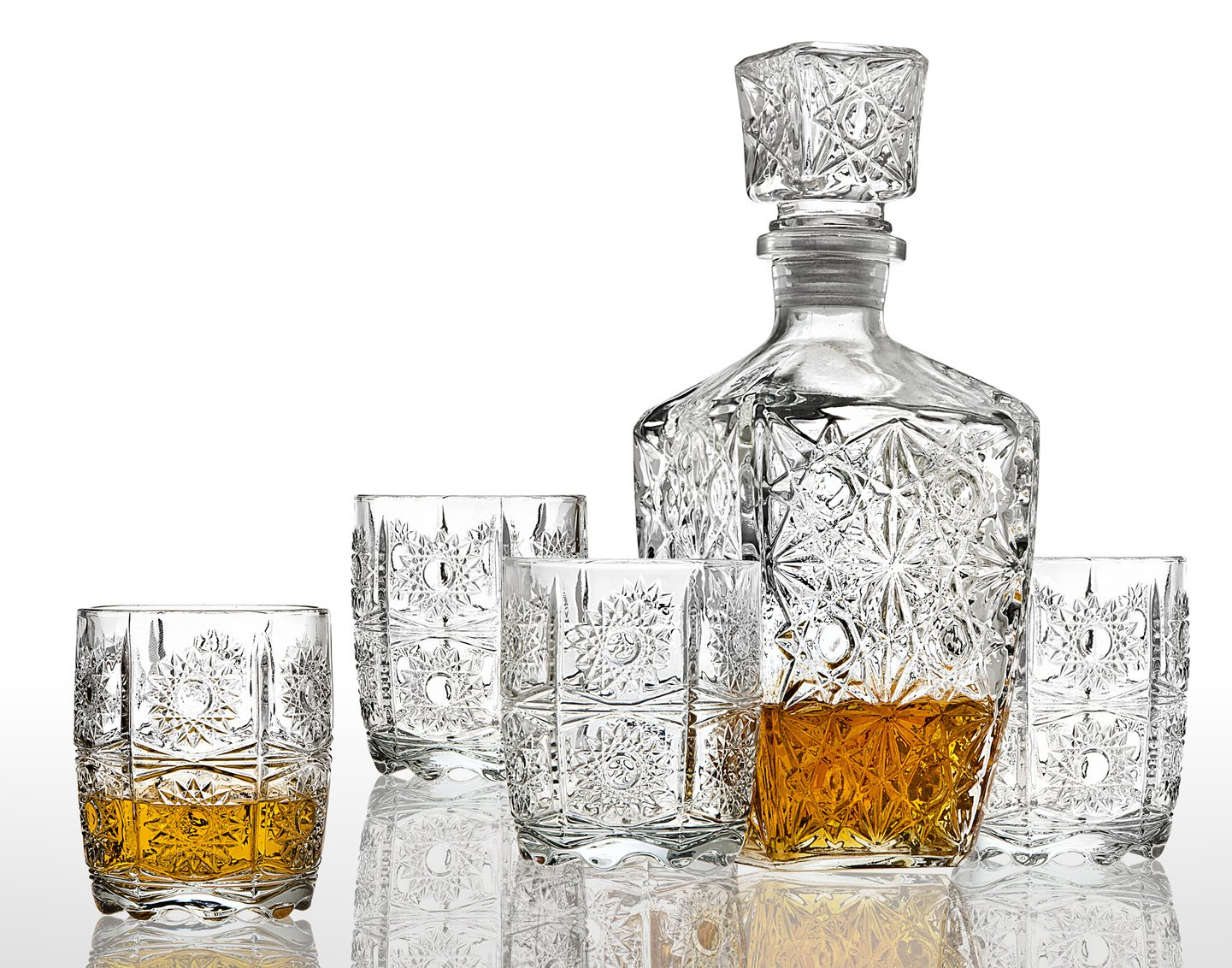 new crystal glass whiskey bar set decanter bourbon scotch. Black Bedroom Furniture Sets. Home Design Ideas
