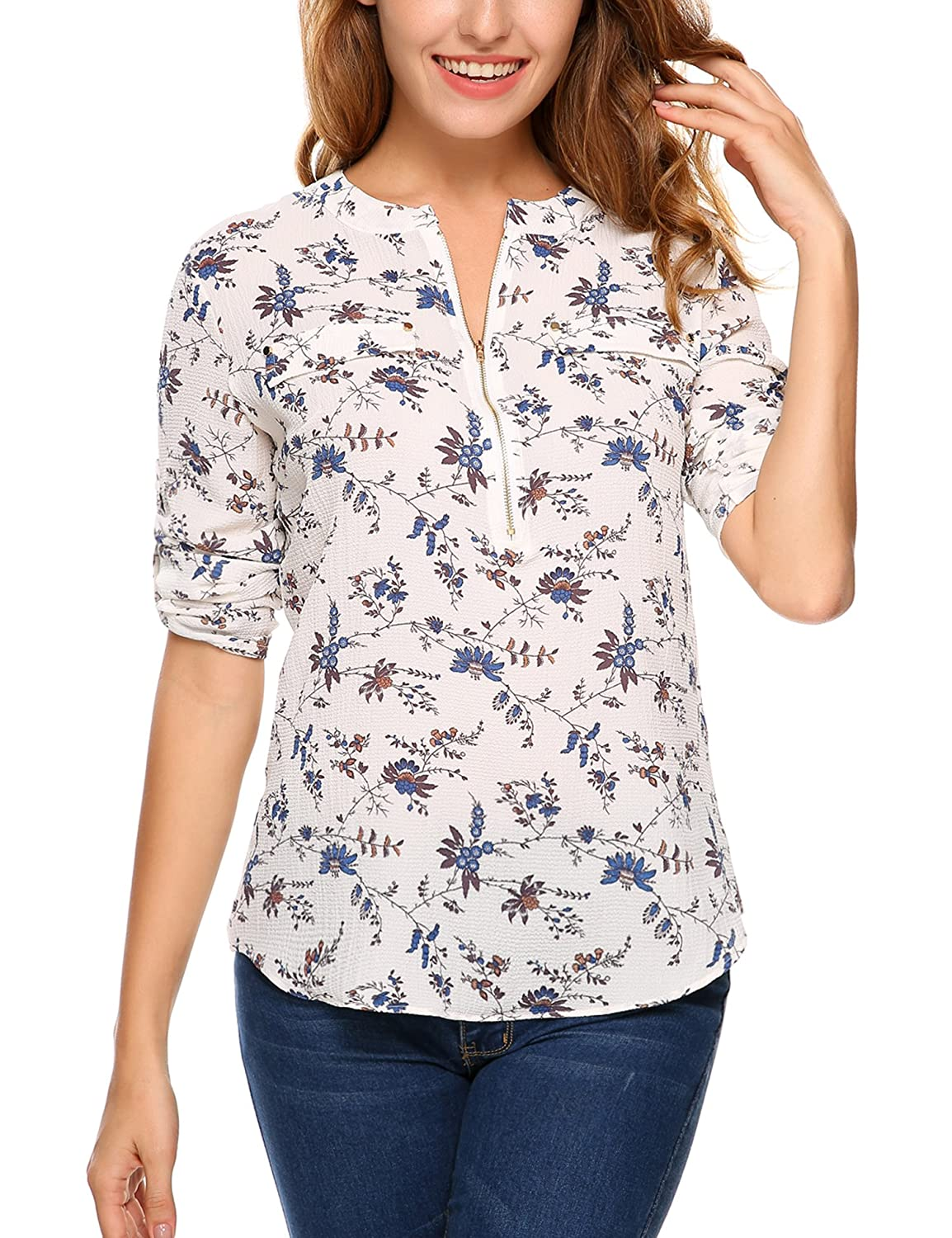 1c6640841c0 ANGVNS Women Long Sleeve Round Neck Floral Chiffon Shirt, White, S at  Amazon Women's Clothing store: