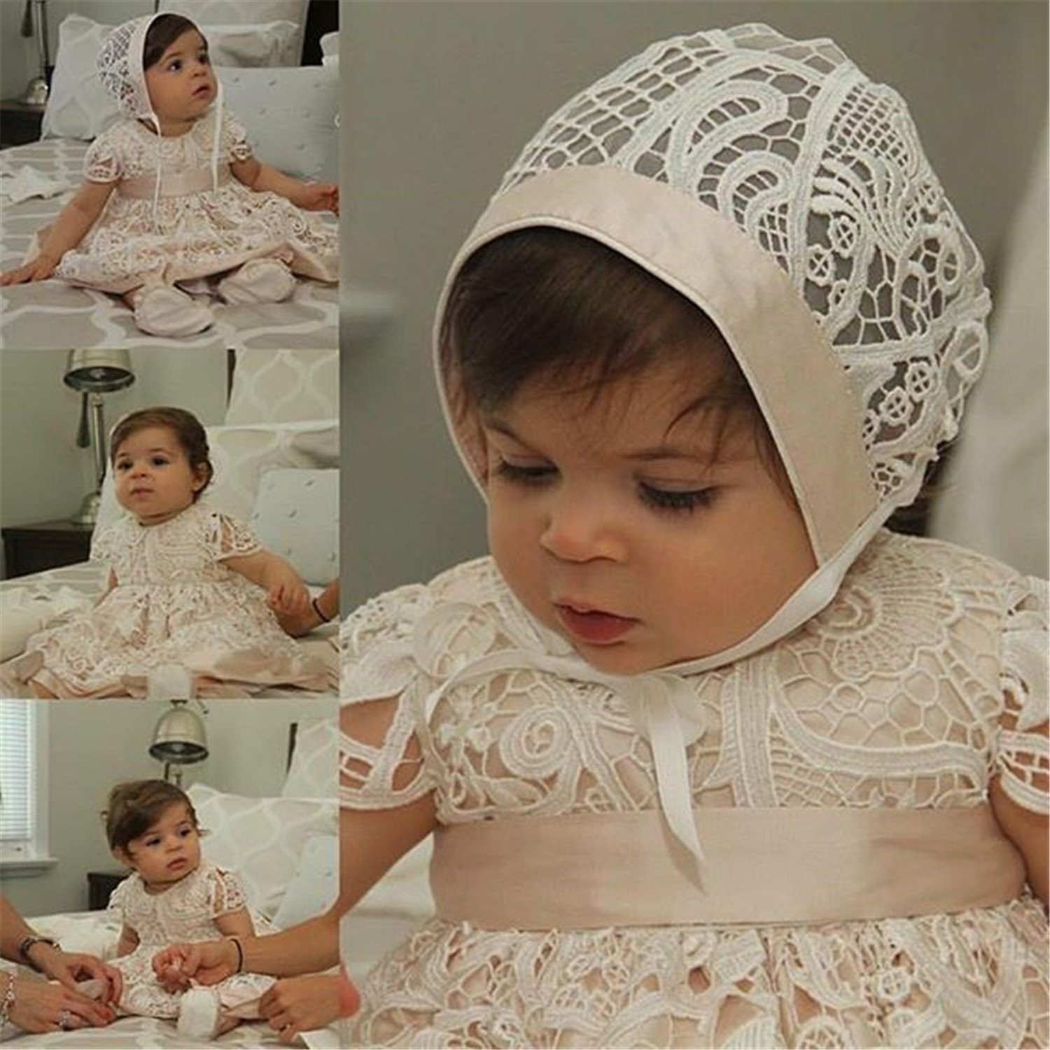 Newdeve Lace Baby-girls Champagne Christening Dresses Long