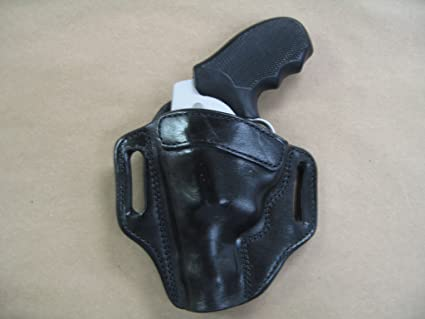 Smith & Wesson S&W J Frame Revolver Leather 2 Slot Molded Pancake Belt  Holster CCW BLACK LEFT HAND
