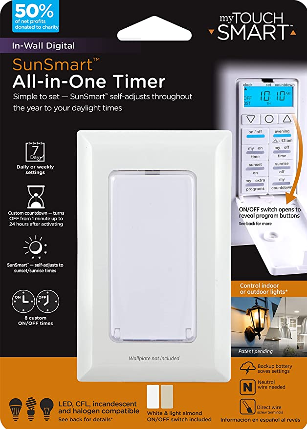 myTouchSmart 7-Day Digital All-in-One Indoor In-Wall Smart Timer