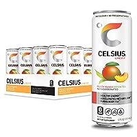 CELSIUS Peach Mango Green Tea Non-Carbonated Fitness Drink, Zero Sugar, 12oz. Slim...