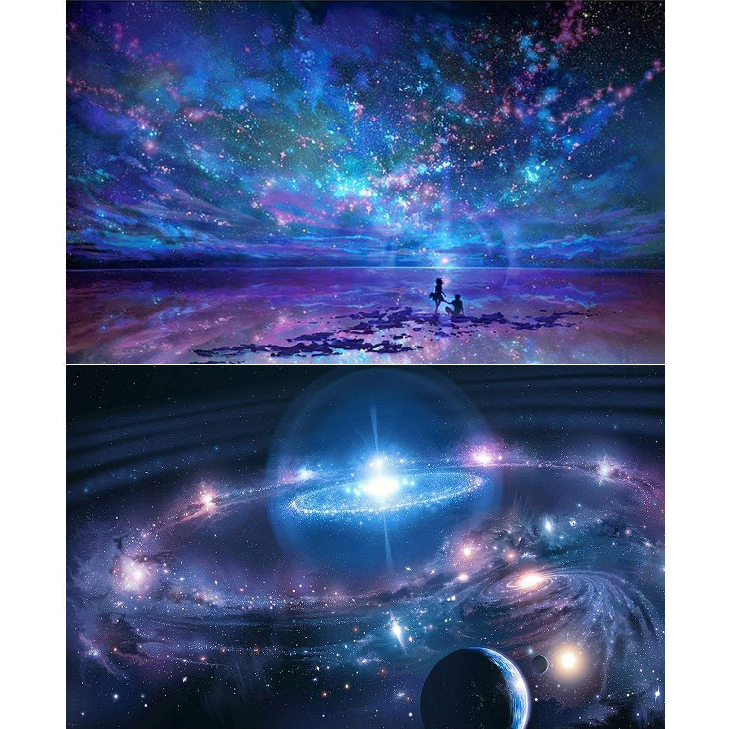 2 Packs 5D DIY Diamond Painting Paint by Numbers Kits for Adult, Night Sky & Fantasy Space Full Drill Diamond Embroidery Paintings Pictures Arts Craft for Home Decoration KRUCE