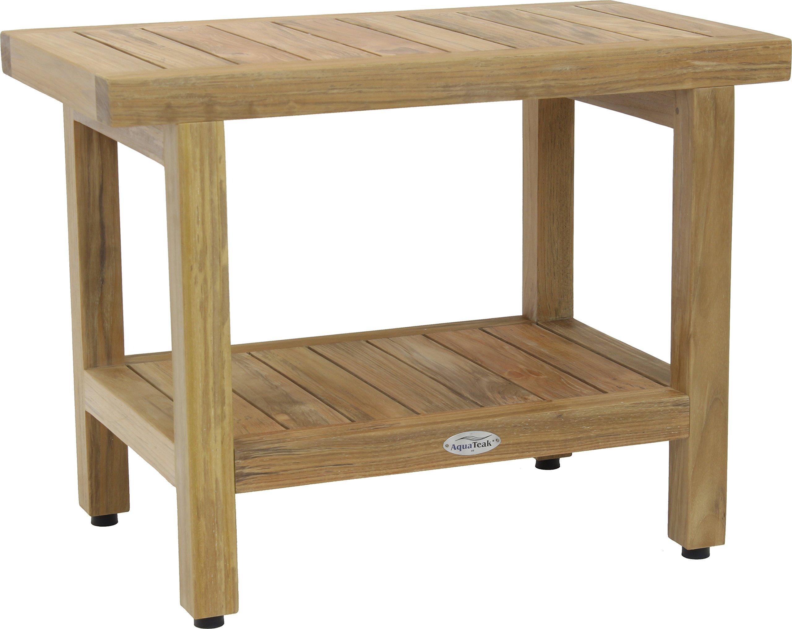 24'' Spa Natural Teak Shower Bench with Shelf
