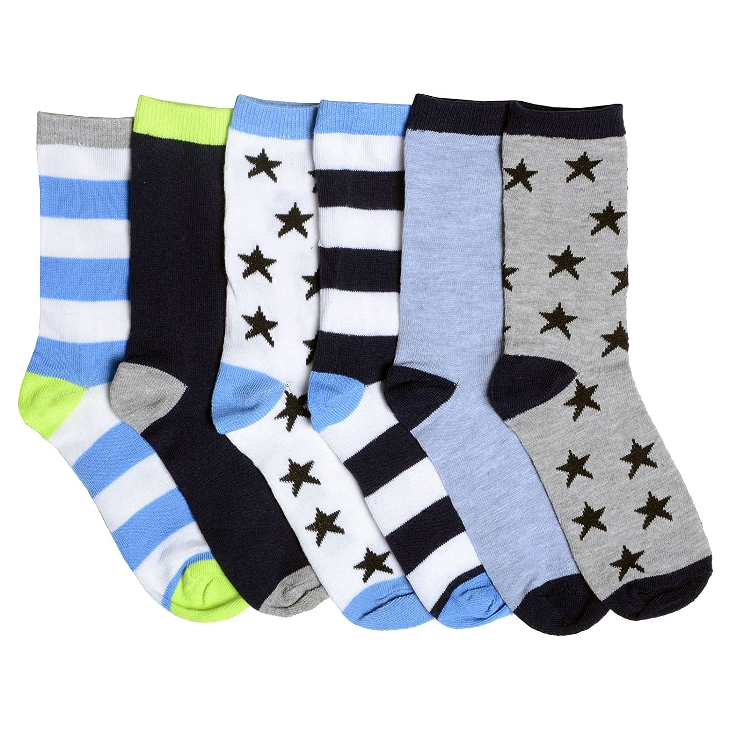 6 Pairs Of Boys Everyday Socks In Assorted Star & Stripe Blue & Grey Coloured Styles RJM