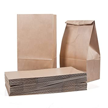 Bolsas de comida de 50 piezas Bolsa de papel marrón Bolsas para el almuerzo 28 x 15 x 8.5 cm - 70 g./