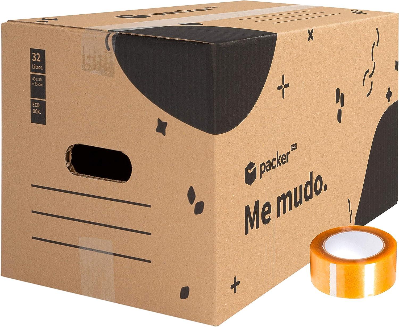 packer PRO Pack 10 Cajas Carton para Mudanzas y Almacenaje Ultra Resistentes con Asas y Cinta Adhesiva 430x300x250mm: Amazon.es: Oficina y papelería