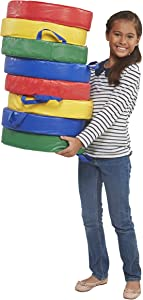 """ECR4Kids Softzone Carry Me Floor Cushions for Flexible Classroom Seating, 3"""" Deluxe Foam, Round, Assorted (4-Piece Set)"""
